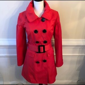 Chic Kensie Tomato Red Double-breasted Trench.